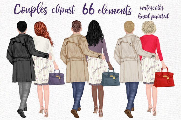 Couples Clpart Elegant man and women Valentines Clipart Png example image 1