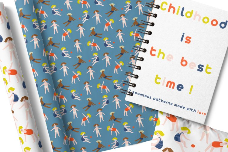 Colorful patterns with multinational children. Summer design