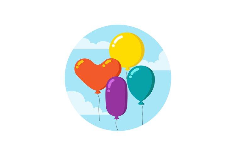 Colorful cartoon bunch of balloons. Happy birthday vector de