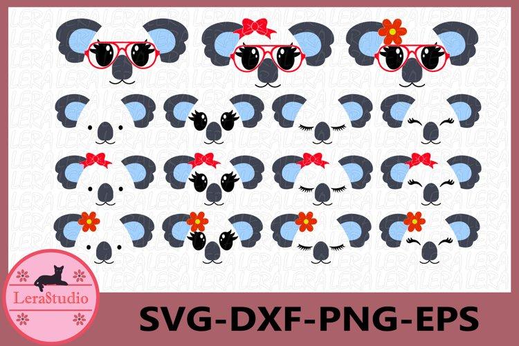 Koala Face SVG, Animal face svg, Koala Eyelashes Face example image 1
