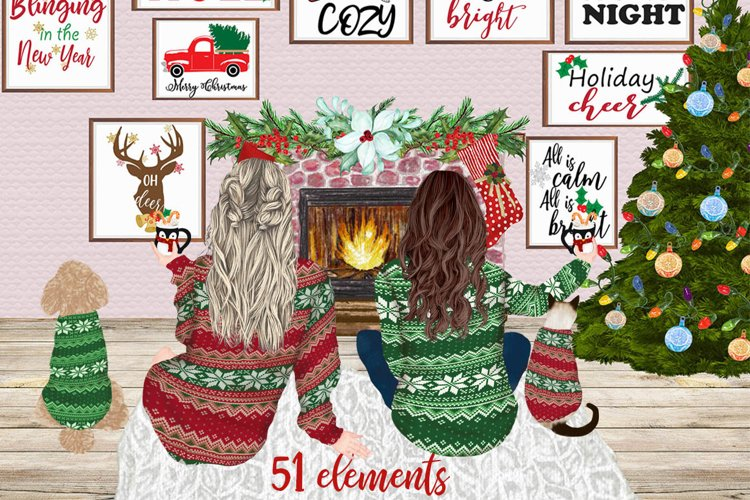 Christmas Girls clipart Mug design Besties clipart Cat Dog example image 1