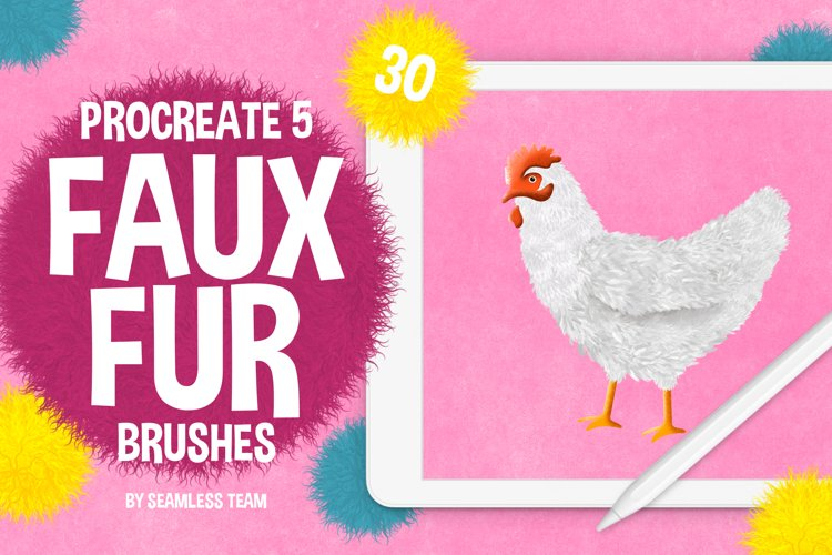 30 FAUX FUR BRUSHES FOR PROCREATE 5 example image 1