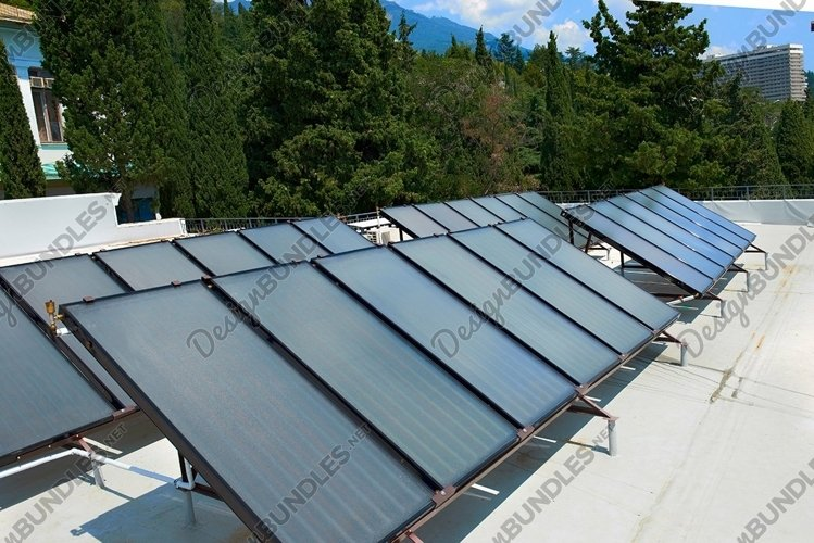 Solar water heating cells on roof. Gelio panels