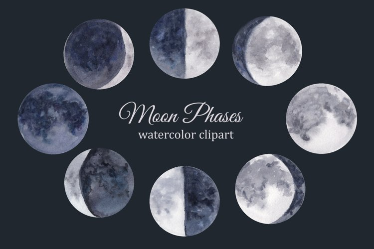 Moon phases watercolor clipart, lunar cycle, celestial