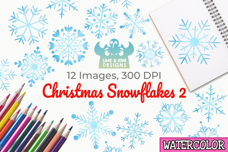 Christmas Snowflakes 2 Watercolor Clipart, Instant Download example image 1
