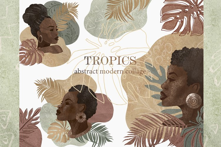 Tropics modern clipart. Abstract Shape.Tropical leaves