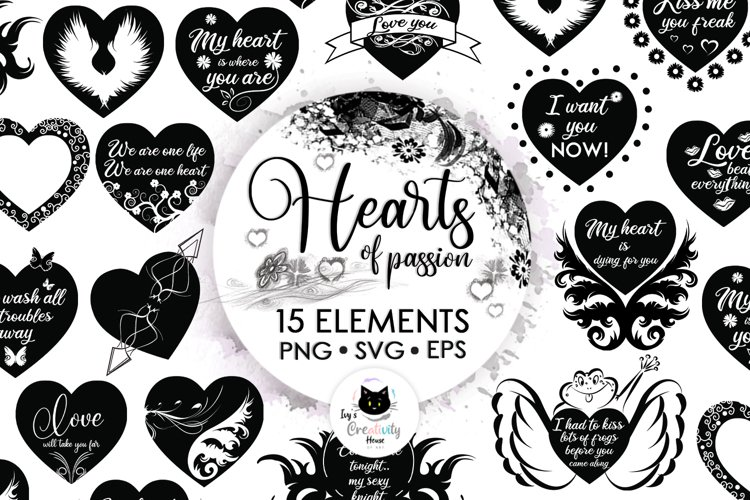 Black Valentine Hearts SVG Files  Heart Silhouette Clipart example image 1