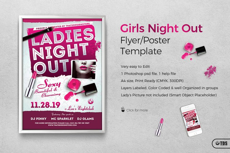 Girls Night Out Flyer Template example image 1