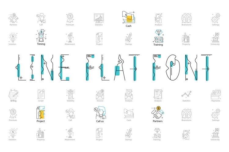 Web Font Line Flat font line flat icon example image 1