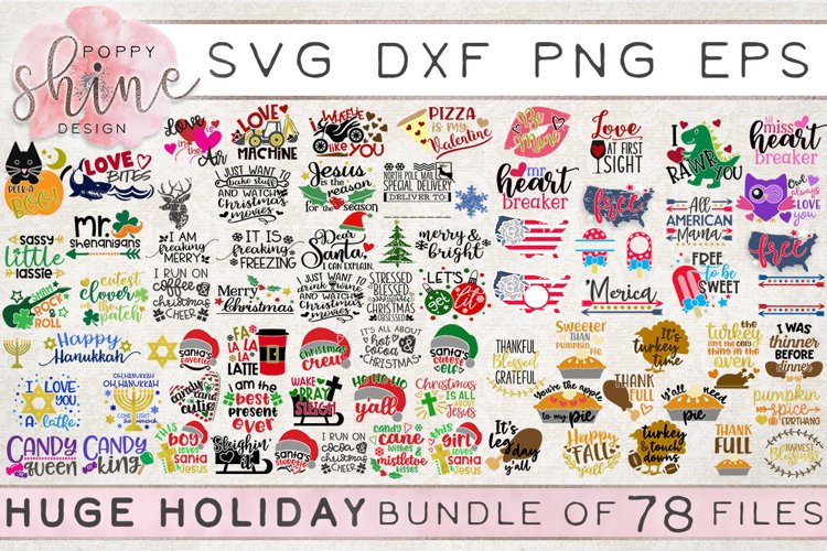 HUGE Holiday Bundle of 78 SVG PNG EPS DXF Cutting Files