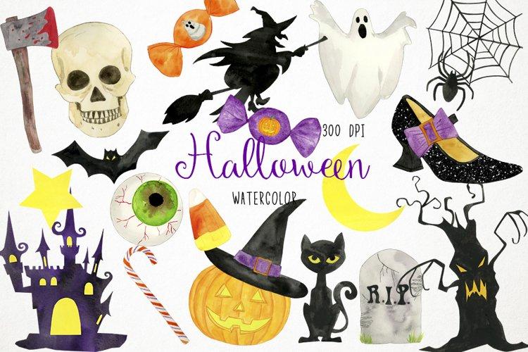 Watercolor Halloween Clipart, Halloween Clip Art example image 1