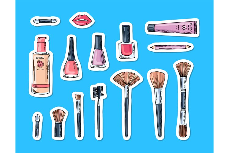 Vector hand drawn makeup elements stickers example image 1