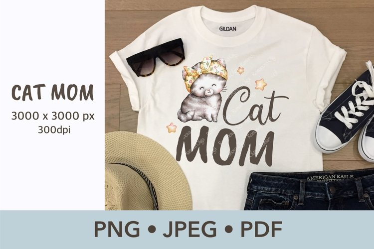 Cat mom Sublimation design Watercolor illustration example image 1