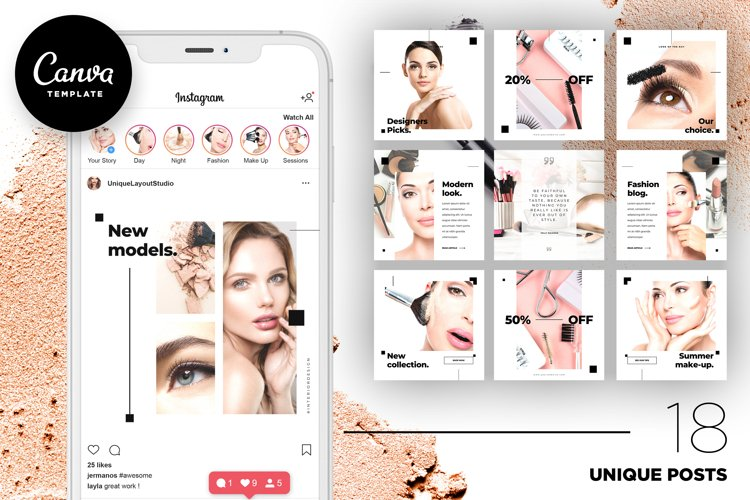 Beauty Instagram 18 Posts Template | CANVA example image 1