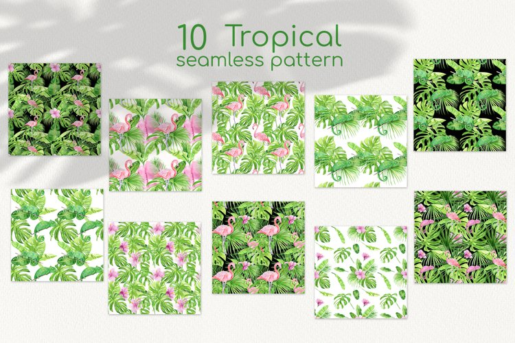Watercolor tropical seamless pattern with pink flamingo example 1