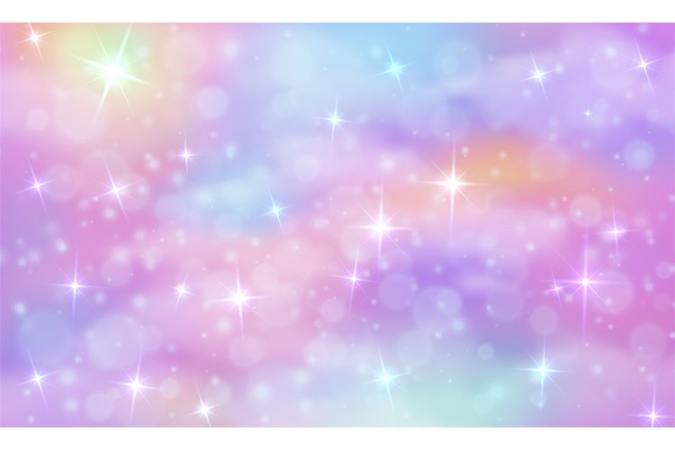 Unicorn fantasy background. Rainbow sky with glittering star example image 1