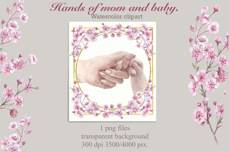 Mothers Day.Hands baby and mom in a floral frame,png