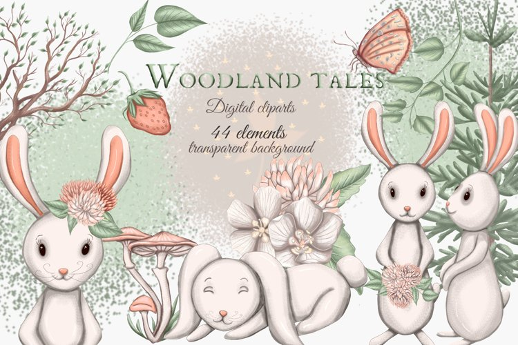 Woodland animals clipart, forest animal clipart, cute bunny example image 1