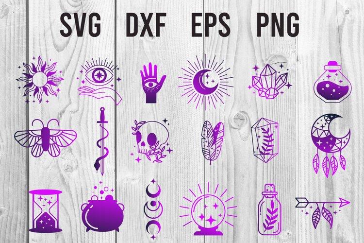 Witch magic symbols. esoteric, boho mystical