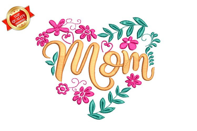 Mom Heart Lettering Machine Embroidery Design example image 1