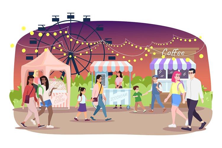 Night fair flat vector illustration