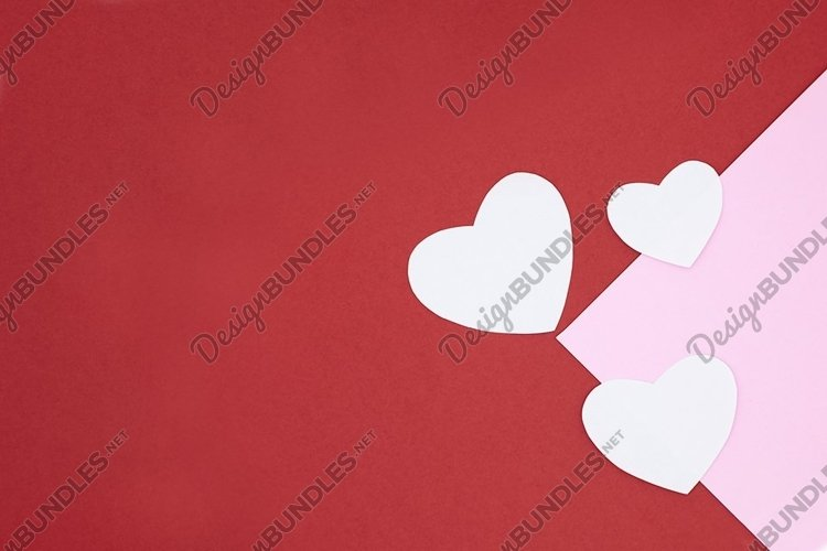 Holiday card mockup. Heart on a red and pink background. example image 1