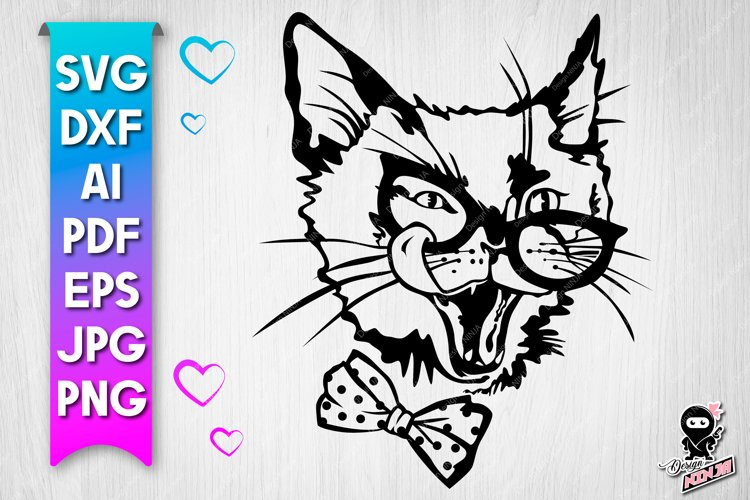 Cocky Cat with glasses SVG example image 1