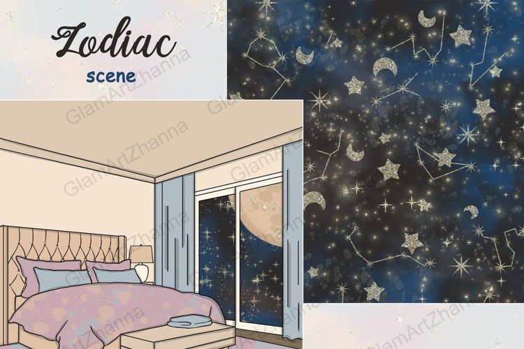 Zodiac SCENE Star Clipart Black Brown Blue Purple Moon - PNG