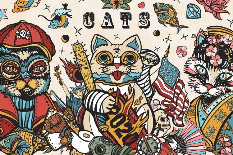 Cats old school tattoo