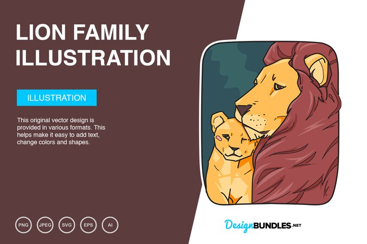 Lion Family Vector Illustration