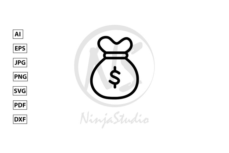 Money Sack Line Icon In Flat Style Vector example image 1