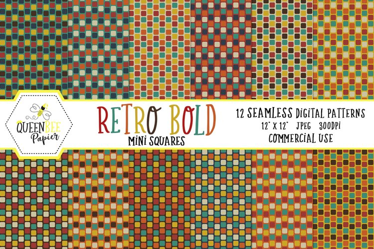 Retro Bold Mini Squares Seamless Digital Patterns