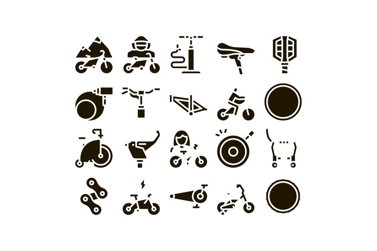 Bicycle Bike Details Glyph Set Vector example image 1