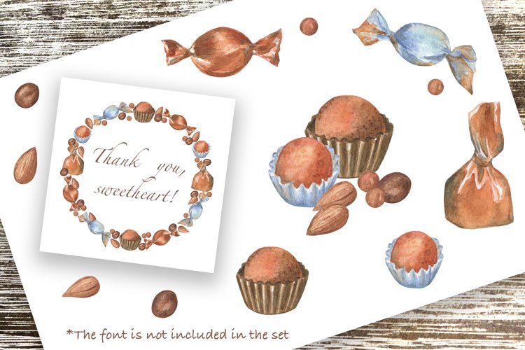 Chocolate Candies, Watercolor clip art, patterns, PNG, JPG. example 2