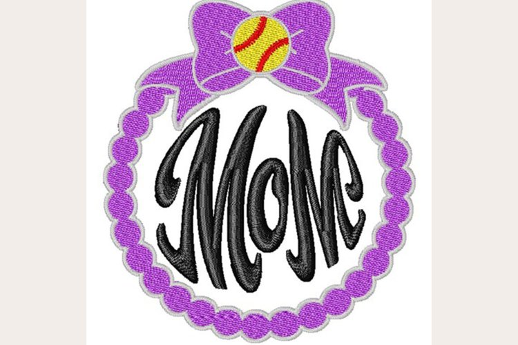 Softball Mom Ornament -Machine Embroidery Design example image 1