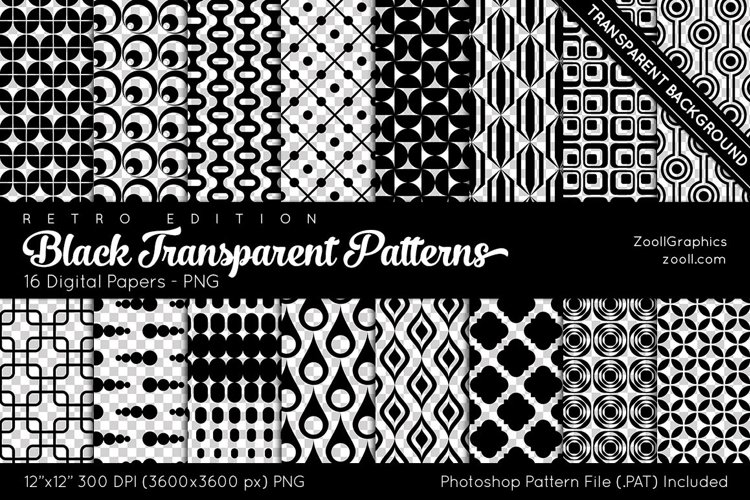 Black Transparent Retro Patterns Digital Papers example image 1