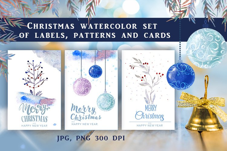Christmas watercolor set of labels, patterns and cards example image 1