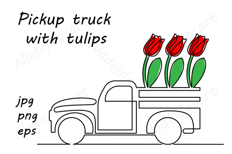 Pickup truck with tulips, continuous line