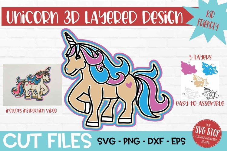 3D Layered SVG for Kids Crafts Unicorn example image 1