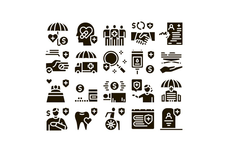 Health Insurance Care Glyph Set Vector example image 1
