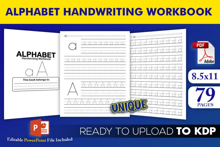 Alphabet Handwriting Workbook Letters Tracing A to Z for KDP example image 1