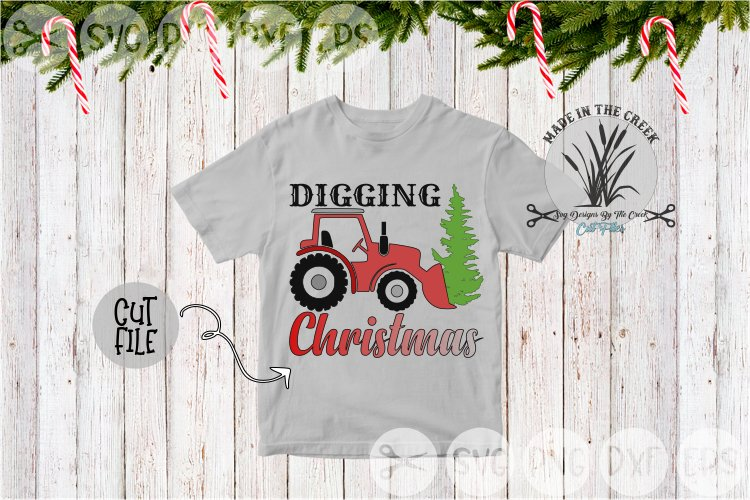 Digging Christmas, Tractor, Christmas Tree, Cut File, SVG example image 1