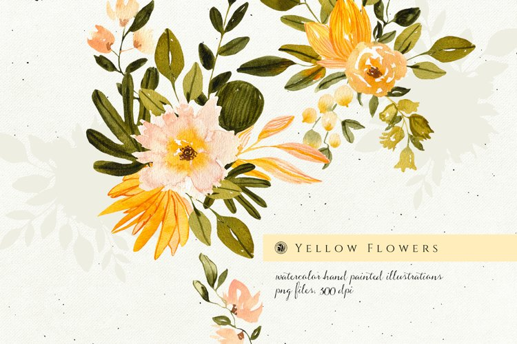 Yellow Watercolor Flowers example image 1