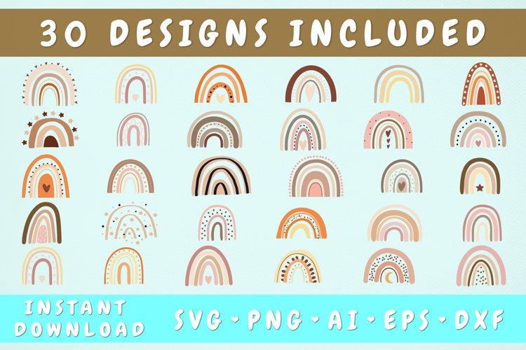 Hand Drawn Boho Rainbow Svg Bundle - 30 Designs, Rainbow Png example image 1