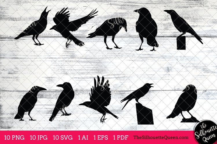 Crow Silhouettes Clipart Clip Art(AI, EPS, SVGs, JPGs, PNGs, PDF) , Crow Clip Art Clipart Vectors - Commercial and Personal Use example image 1