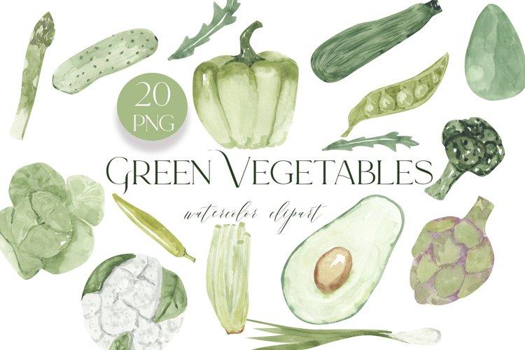 Vegetables clipart, watercolor green vegetables, Watercolor