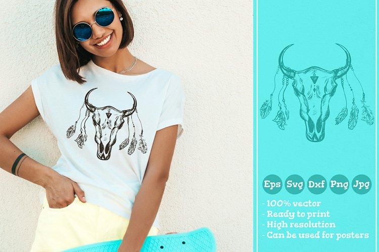 Buffalo Skull With Feathers T-shirt Illustration SVG File example image 1