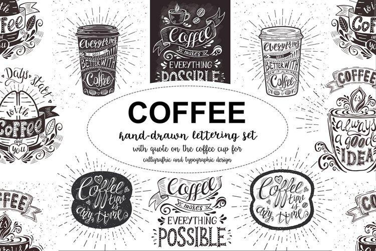 Set of Banners with coffee quotes. example image 1