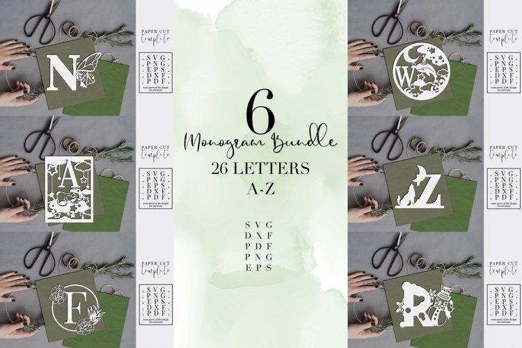 Monogram Bundle, 6 different designs full alphabet, SVG PNG