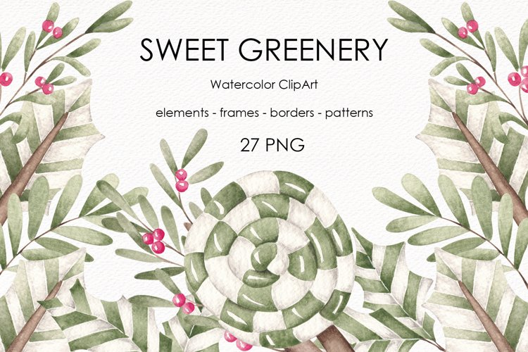 """Watercolor ClipArt """"Sweet greenery"""" example image 1"""